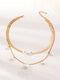 Metal Peach Heart Pearl Tassel Multi-layer Necklace - Gold