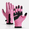 Unisex Fleece Screen Touchable Waterproof Winter Outdoor Keep Warm Waterproof Cycling Riding Full-finger Gloves - Pink