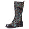 SOCOFY Gorgeous Flowers Pattern Colorful Stitching Elegant Zipper Lace Up Flat Mid Calf Boots - Black