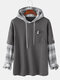 Mens Patchwork Plaid Contrast Faux Twinset Casual Drawstring Hoodies With Pocket - Grey
