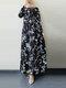 Leaves Print O-neck Long Sleeve Casual Muslim Dress for Women - Black