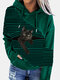 Black Cat Print Patchwork Striped Long Sleeve Plus Size Hooded T-shirt - Green