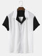 Mens Two Tone Patchwork Revere Collar Casual Short Sleeve Shirts - White