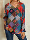 Floral Striped Plaid Print Button Long Sleeve Casual Blouse for Women - Red