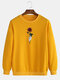 Mens Rose Graphic Print Round Neck Casual Drop Shoulder Pullover Sweatshirts - Yellow