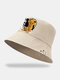 Unisex Cotton Fashion Cool Tiger Chinese Characters Print Outdoor Sunshade Ring Decor Bucket Hat - Beige