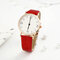 Fashion Cute Women Watches Leather Band Rose Gold Case Large Three-Hand Dial Quartz Watch - Red