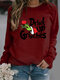 Solid Color Letters Print Long Sleeve Casual Sweatshirt - Wine Red