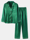 Plus Size Women Faux Silk Lapel Chest Pocket Long Pajamas Sets With Contrast Binding - Green