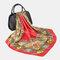 شال وشاح طويل كلاسيكي بطباعة كلاسيكية للنساء - أحمر