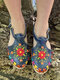 Plus Size Ethnic Flowers Embroidered Hollow Closed Toe Espadrilles Flat Sandals For Women - Blue