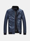 Mens Wear-resistant Lining Slim Casual Business Stand Collar Solid Color PU Leather Jacket