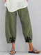 Paw Printed Elastic Waist Casual Pants For Women - Green