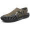 Men Braided rope Non Slip Metal Buckle Soft Casual Leather Sandals