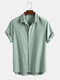Men 100% Cotton Solid Color Hidden Buckle Holiday Casual Shirt - Green
