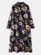 Women Flower Print Pocket Loose Long Sleeve Vintage Dress - Blue