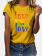 Multi-color Letter Print Short Sleeve Casual T-shirt For Women - Yellow