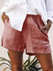 Solid Color Elastic Waist Shorts For Women - Red