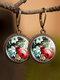 Vintage Glass Gemstone Dangle Earrings plant Flower Pattern Women Pendant Earrings Jewelry - #05