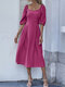 Solid Color Square Collar Half Sleeve Backless Casual Dress - Rose