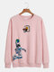 Mens Astronaut Graphic Print Relaxed Fit Round Neck Lounge Sweatshirt - Pink