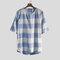 Мужские хлопковые дышащие футболки с принтом в клетку Винтаж Однотонные повседневные топы