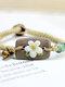 Vintage Hand-kneaded Flowers Rectangular Ceramic Bracelets - Yellow