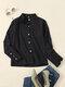 Blusa de botones de manga larga con solapa sólida para Mujer - Negro
