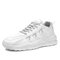 Men Breathable Knitted Fabric Lace-up Hard Wearing Outdoor Sneakers - White Gray