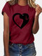 Dog Print Short Sleeve Casual O-neck T-shirt For Women - Wine Red