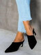 Large Size Solid Color Suede Pointed Closed Toe Mules Heels For Women - Black