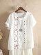 Camiseta de manga curta com decote em O bordado vintage - Branco