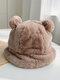 Women Faux Rabbit Fur Warm Soft Cute Casual All-match Animal Ear Pattern Bucket Hat - #08