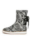 Women Back Cross Strap Lace-up Warm Casual Flat Mid-calf Boots - Snake