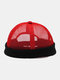Unisex Hollow Out Mesh Breathable Fashion Outdoor Brimless Beanie Landlord Cap Skull Cap - Red