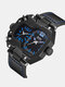 Vintage Large Dial Men Watch Dual Time Zone Waterproof Quartz Watch - Blue
