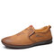 Men Hand Stitching Leather Non Slip Slip On Comfy Shoes  - Brown