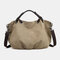 Women Canvas Solid Large Capacity Handbag Crossbody Bag - Khaki