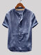 Mens Cotton Linen Vintage Solid Stand Collar Casual Henley Shirt - Blue