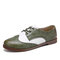LOSTISY Color Block Lace Up Casual Women Brogue Shoes - Green