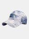 Unisex Tie-dye Cotton Letters Line Drawing Fox Embroidery Fashion Sunshade Baseball Cap - Dark Blue