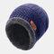 メンズウールPlusベルベット厚手の冬は暖かく防風ニット帽を保つ - ネービー