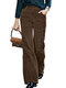 Women Vintage Corduroy Solid Color Casual Pants With Pocket - Coffee
