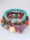 Vintage Multicolor Beads Multi-layer Bracelet Temperament Elephant Pendant Bracelet - Colorful