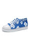 Large Size Women Printing Flowers Low Top Casual Denim Canvas Lace Up Flat Skate Shoes - Light blue Lily
