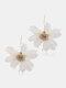 Trendy Big Petal Flower Earrings Temperament Alloy Beads Earrings - White