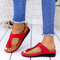 Large Size Women Casual Solid Color Clip Toe Wedges Slippers - Red
