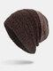 मेन विंटर Plus मखमली धारीदार पैटर्न आउटडोर लंबे बुना हुआ गर्म बेनी टोपी - कॉफ़ी