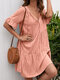 Women Solid V-neck Knotted Button Half Sleeve Casual Dress - Pink