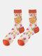 جوارب حريرية حريرية أنيقة بنمط رسوم متحركة فواكه للسيدات - دوريان البرتقالي